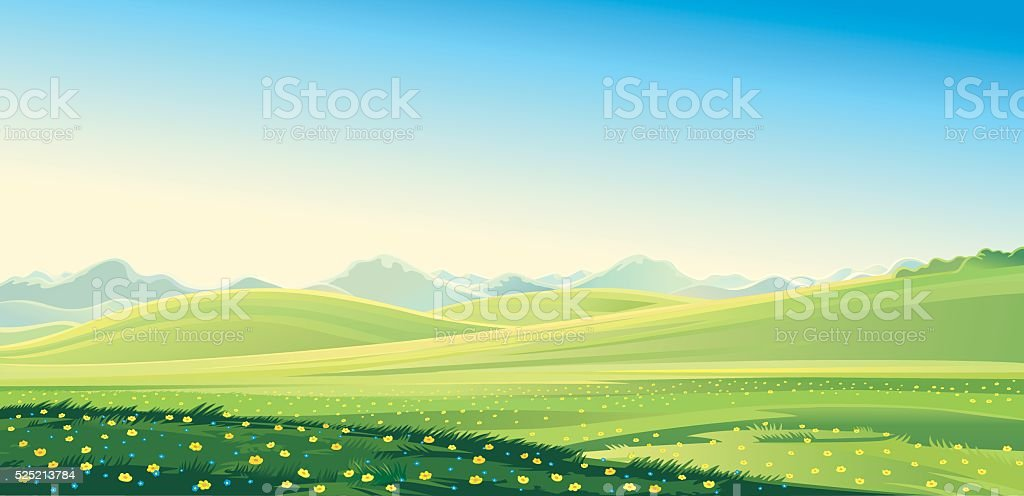 Summer landscape. Summer mountain landscape, vector illustration. It...