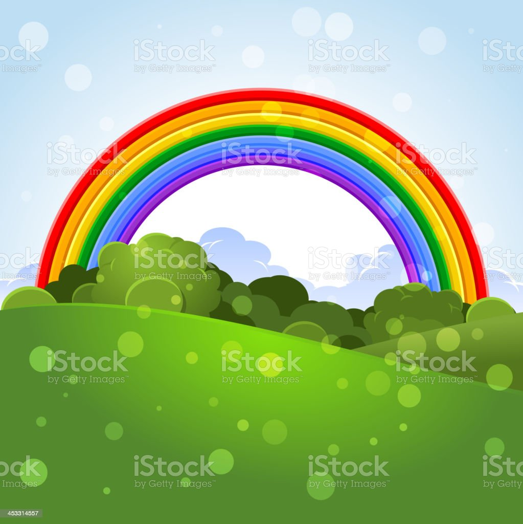 Summer landscape with a rainbow royalty-free stock vector art