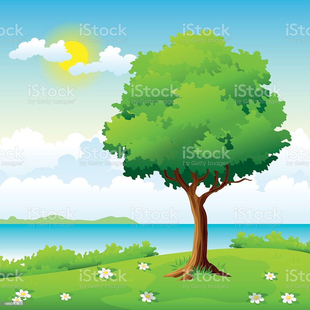 Summer landscape with a tree on a hill vector art illustration