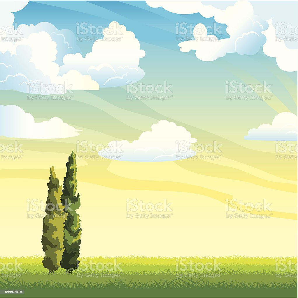 Summer landscape with clouds and cyoress vector art illustration