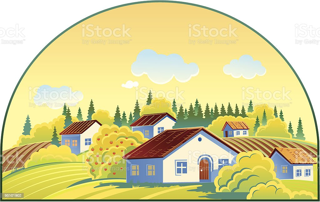 Summer landscape with cottage settlement royalty-free stock vector art