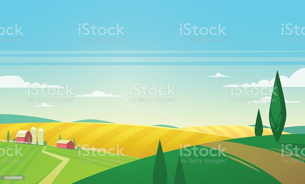 Summer landscape with farmhouse. Vector illustration. vector art illustration