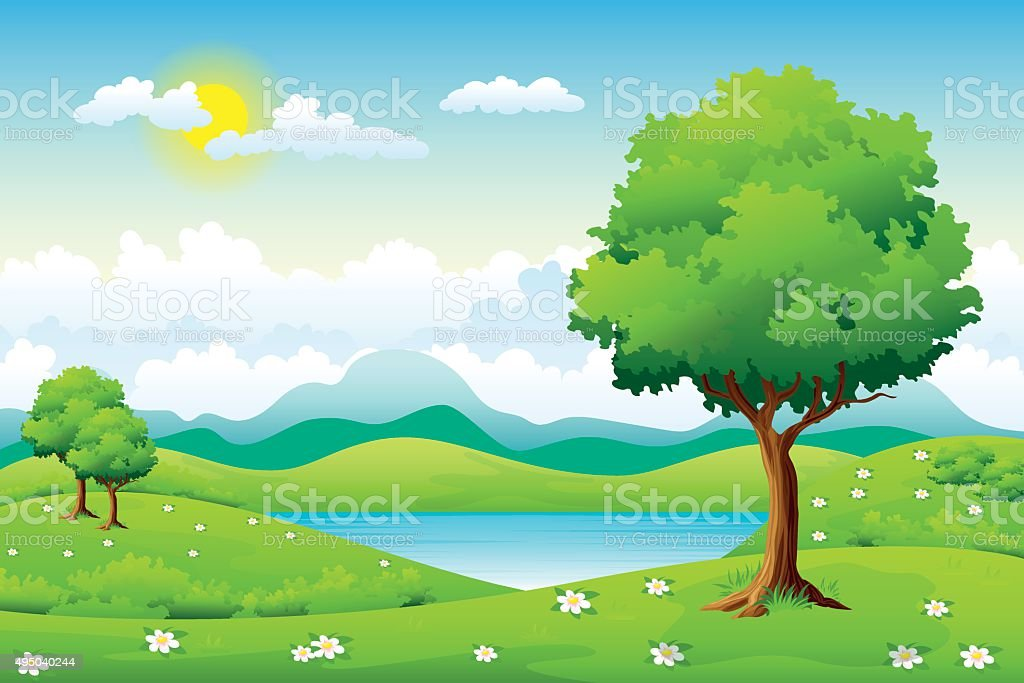 Summer landscape with flowers and trees vector art illustration