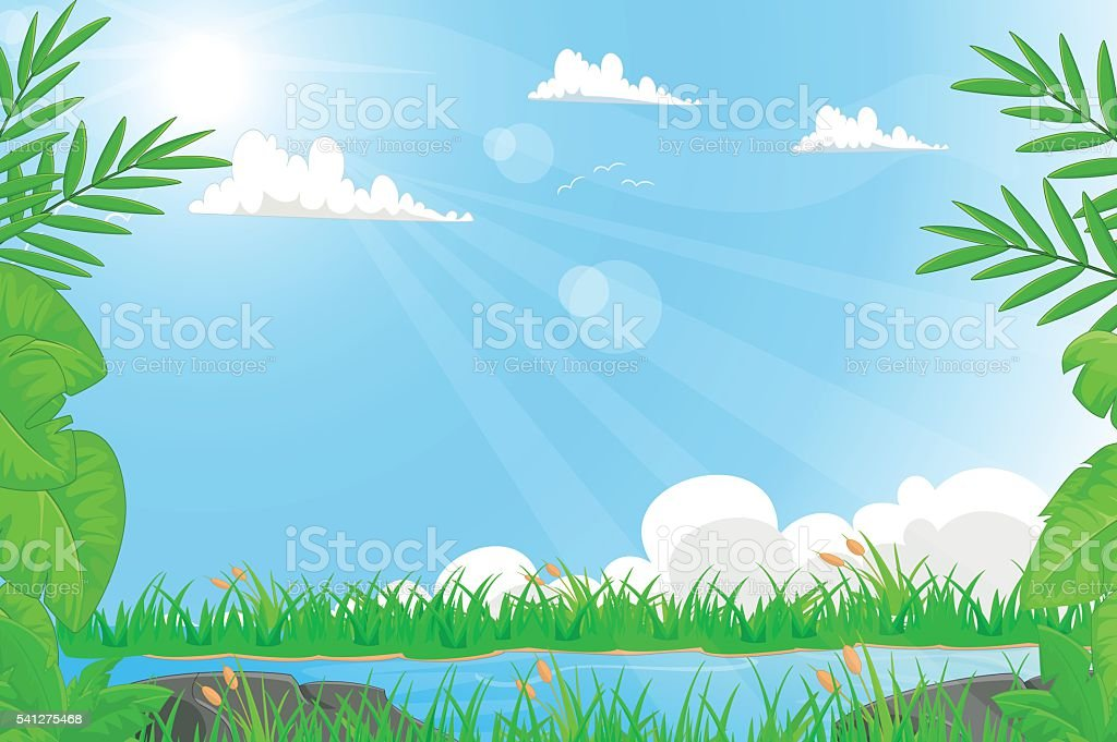 Summer landscape with river and grass vector art illustration