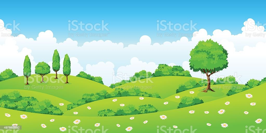 Summer landscape with trees and flowers vector art illustration