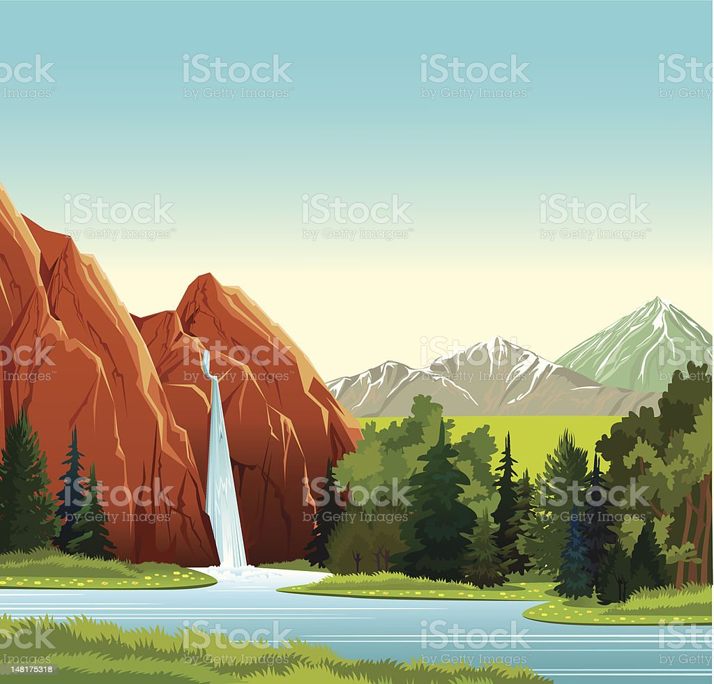 Summer landscape with waterfall, forest and mountains royalty-free stock vector art