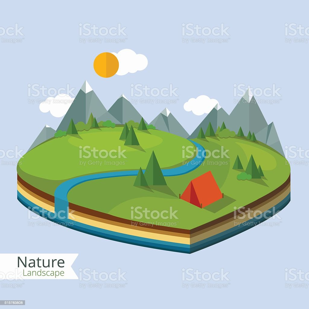 Summer landscape,island in flat style - 3D vector illustration vector art illustration