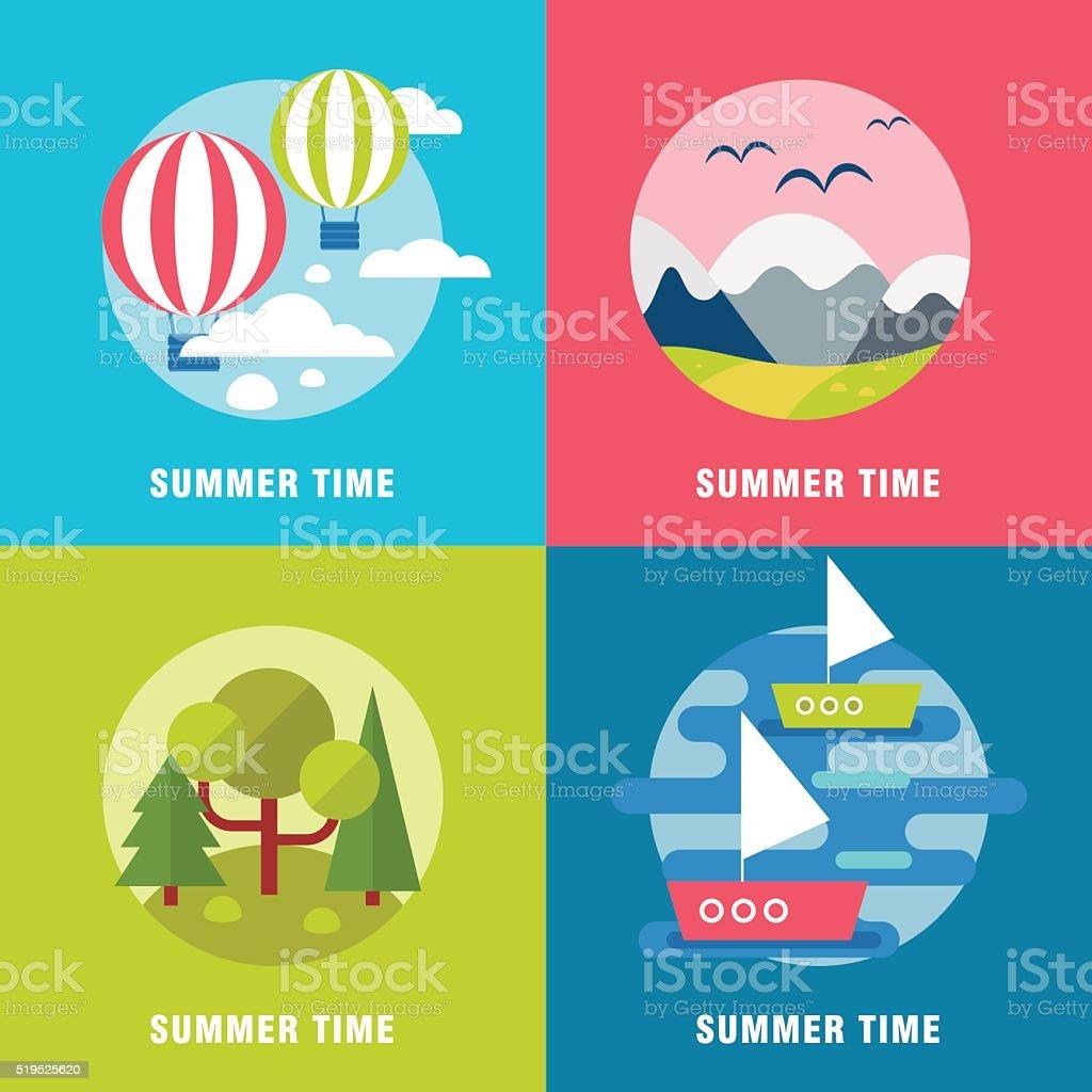 Summer landskape background banners vector art illustration