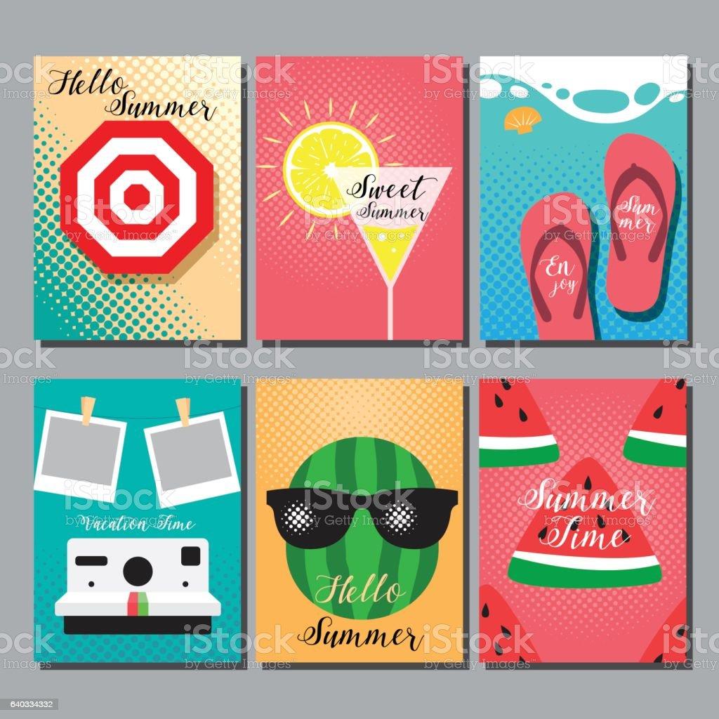 summer , layout design, greeting card vector art illustration