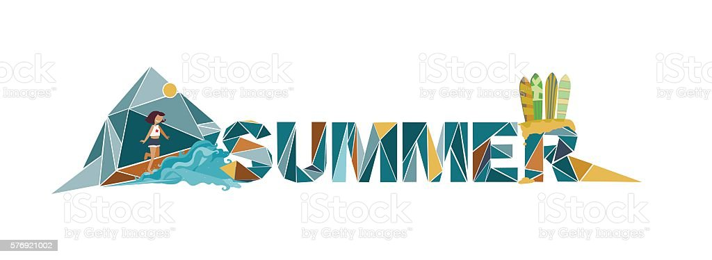 Summer lettering on white background, dedicated to vacation vector art illustration