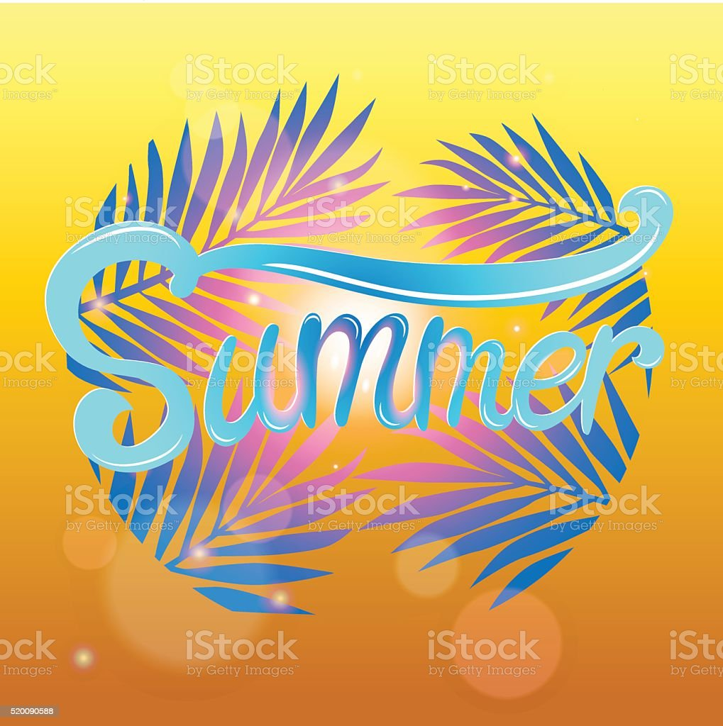 Summer lettering poster on vintage decoraowers background royalty-free stock vector art