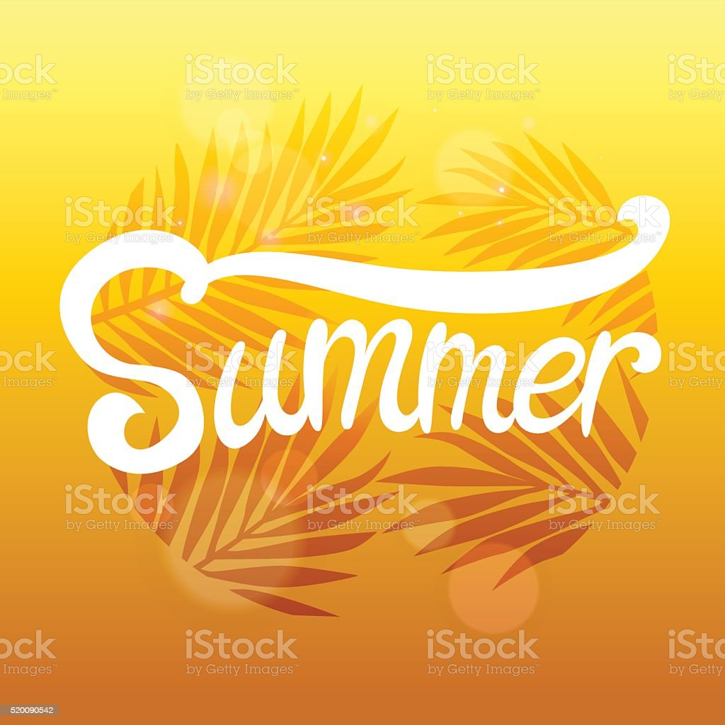Summer lettering poster on vintage decorative plants and flowers background royalty-free stock vector art