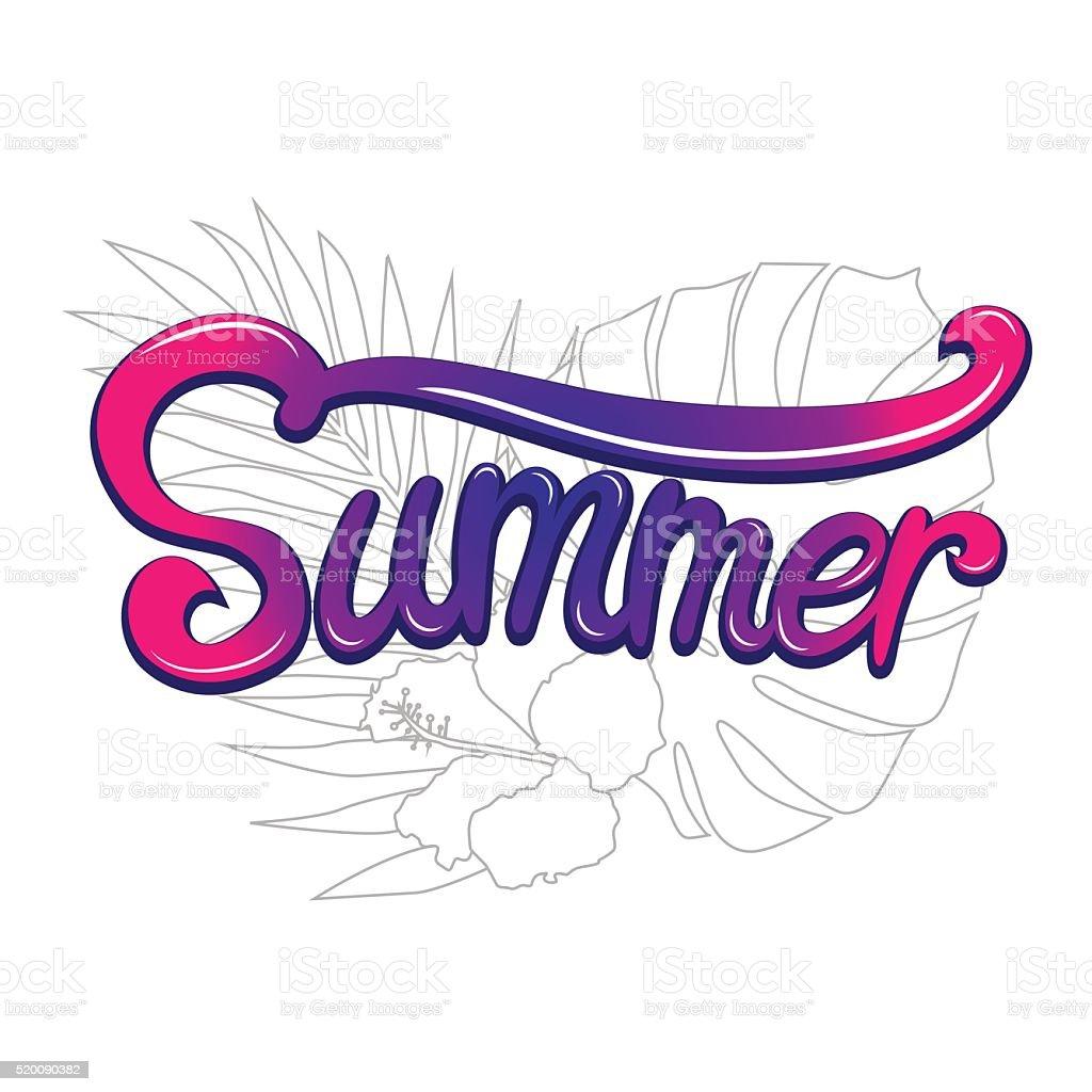 Summer lettering poster vector art illustration