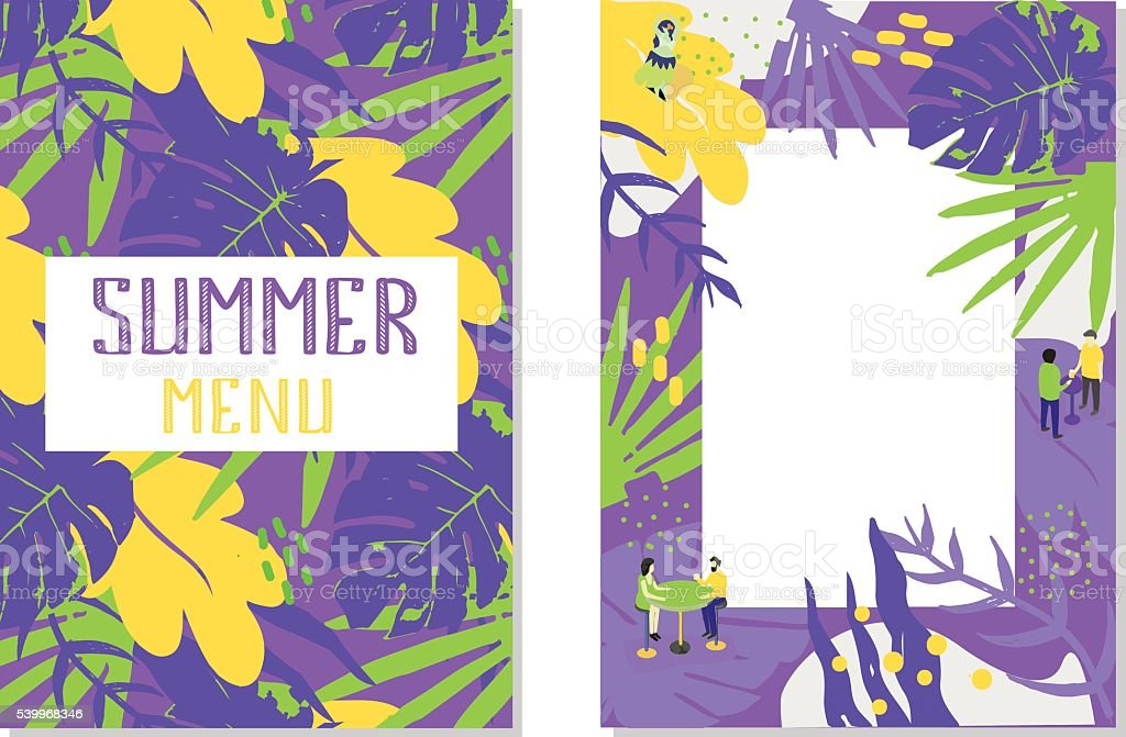 Summer menu for your cafe or summer party. vector art illustration