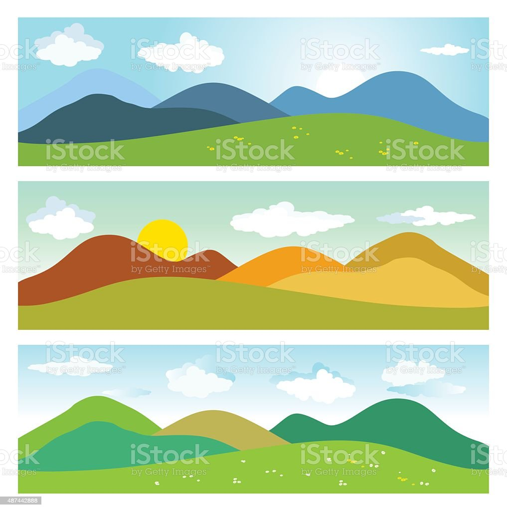 Summer mountains landscapes. vector art illustration