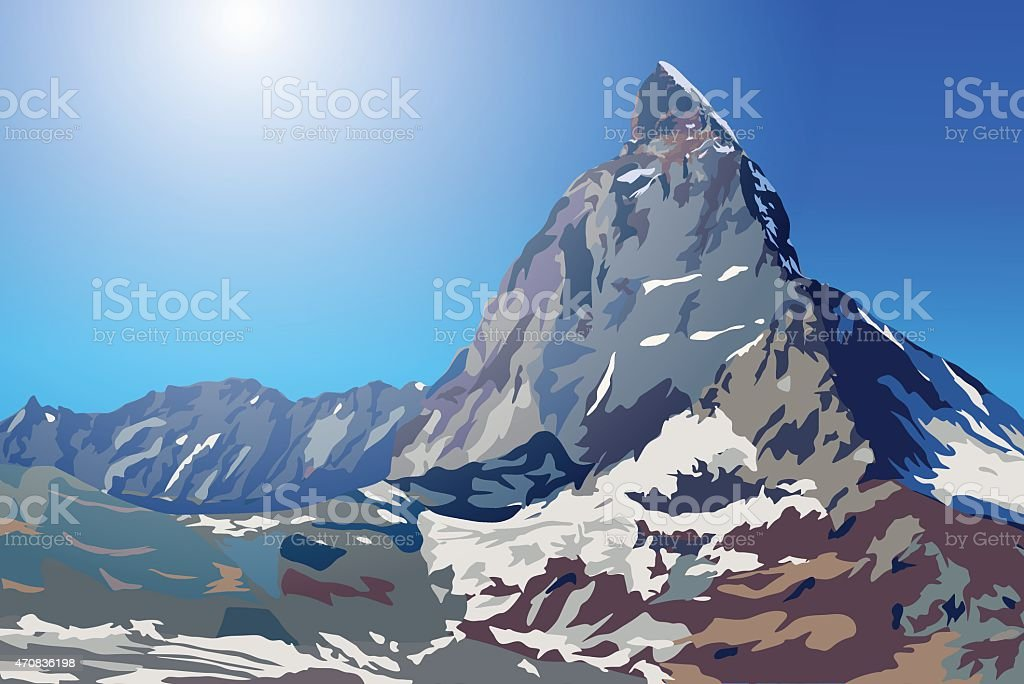 Summer mountains vector art illustration