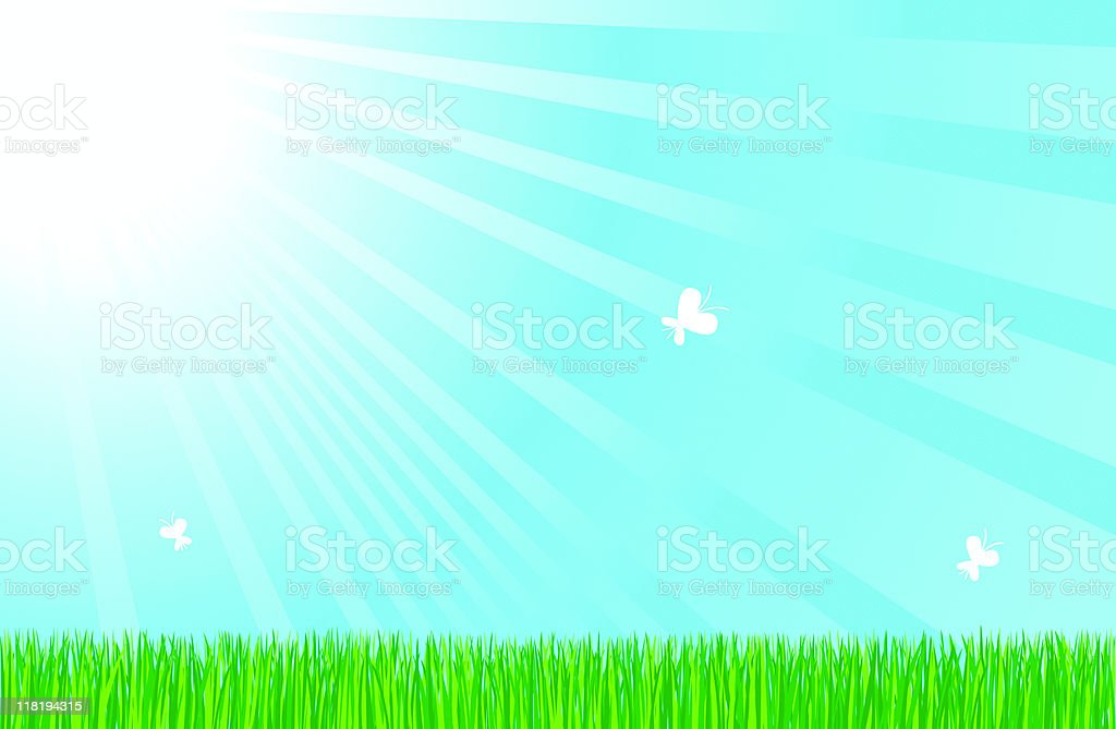 summer nature with blue air and green grass illustration royalty-free stock vector art