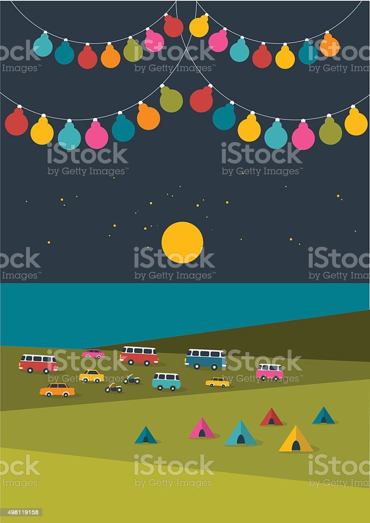 Summer night festival, party music poster, background with color flags vector art illustration
