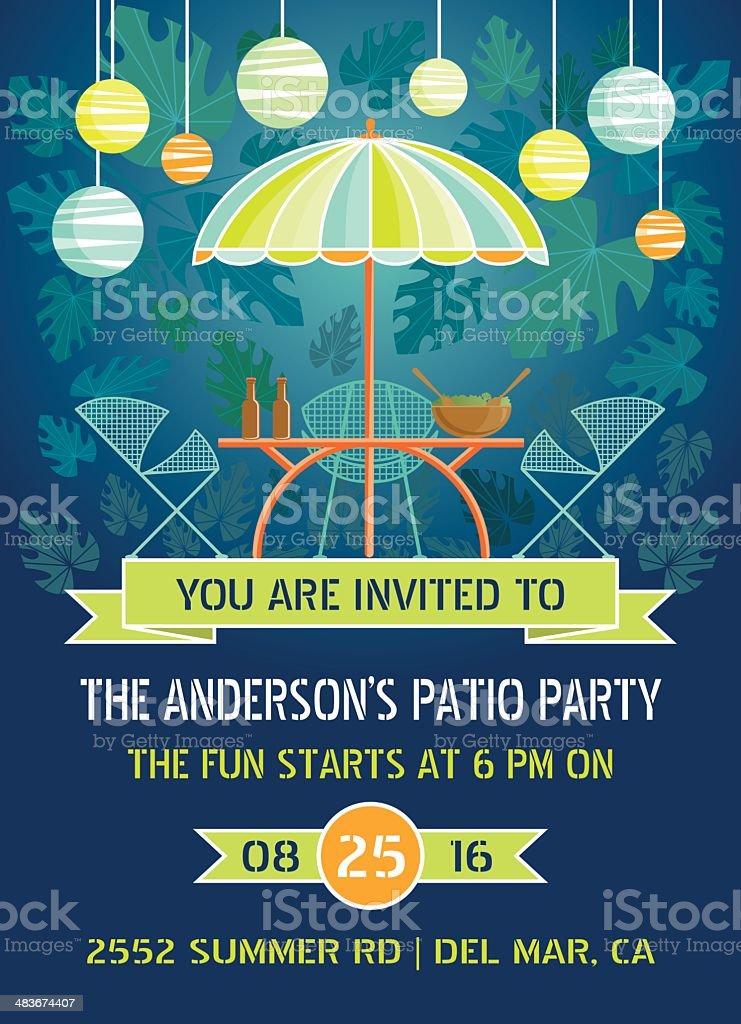 Summer Night Patio Party vector art illustration