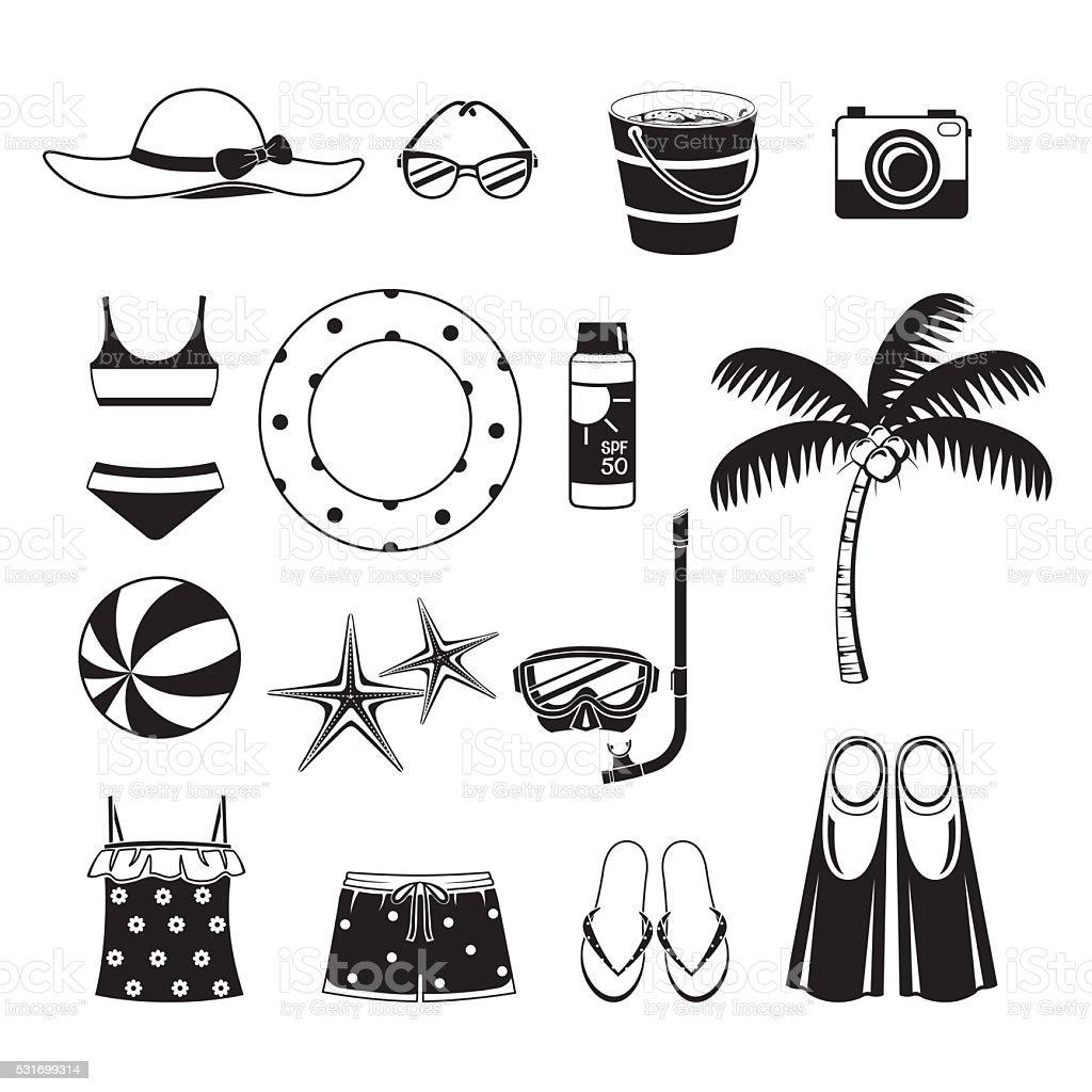 Summer Objects Icons Set, Monochrome vector art illustration