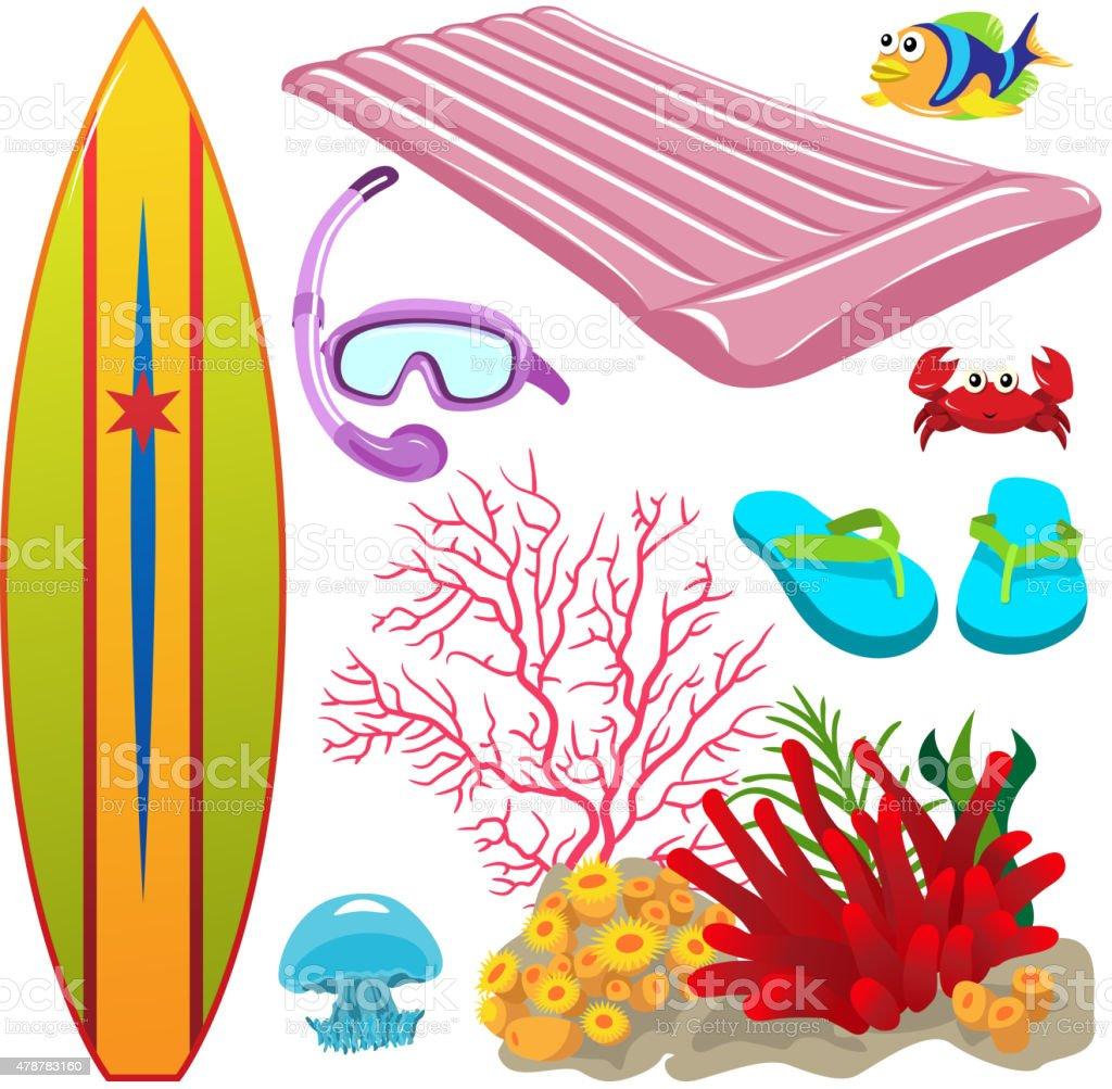 Summer ocean design elements. vector art illustration