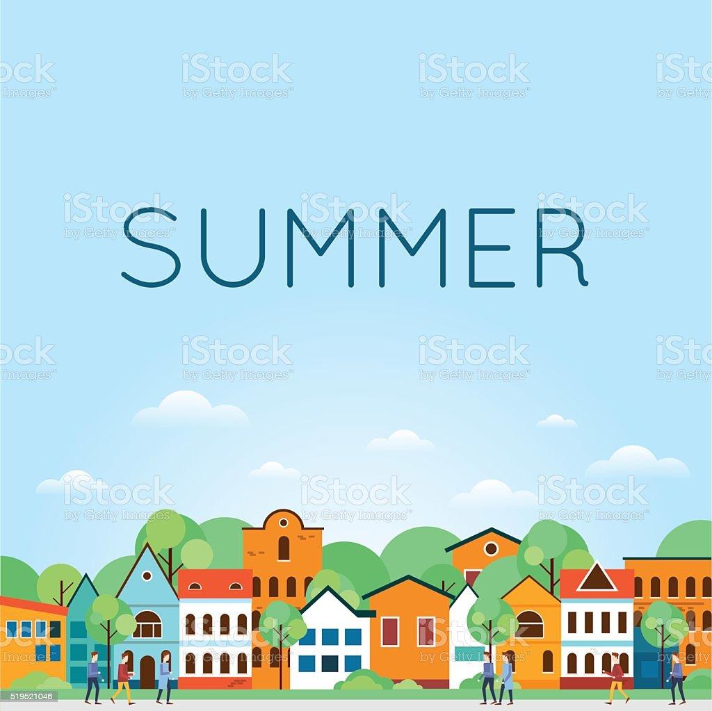 Summer Old city landscape. Colorful Houses. Old Town, old Europe. vector art illustration