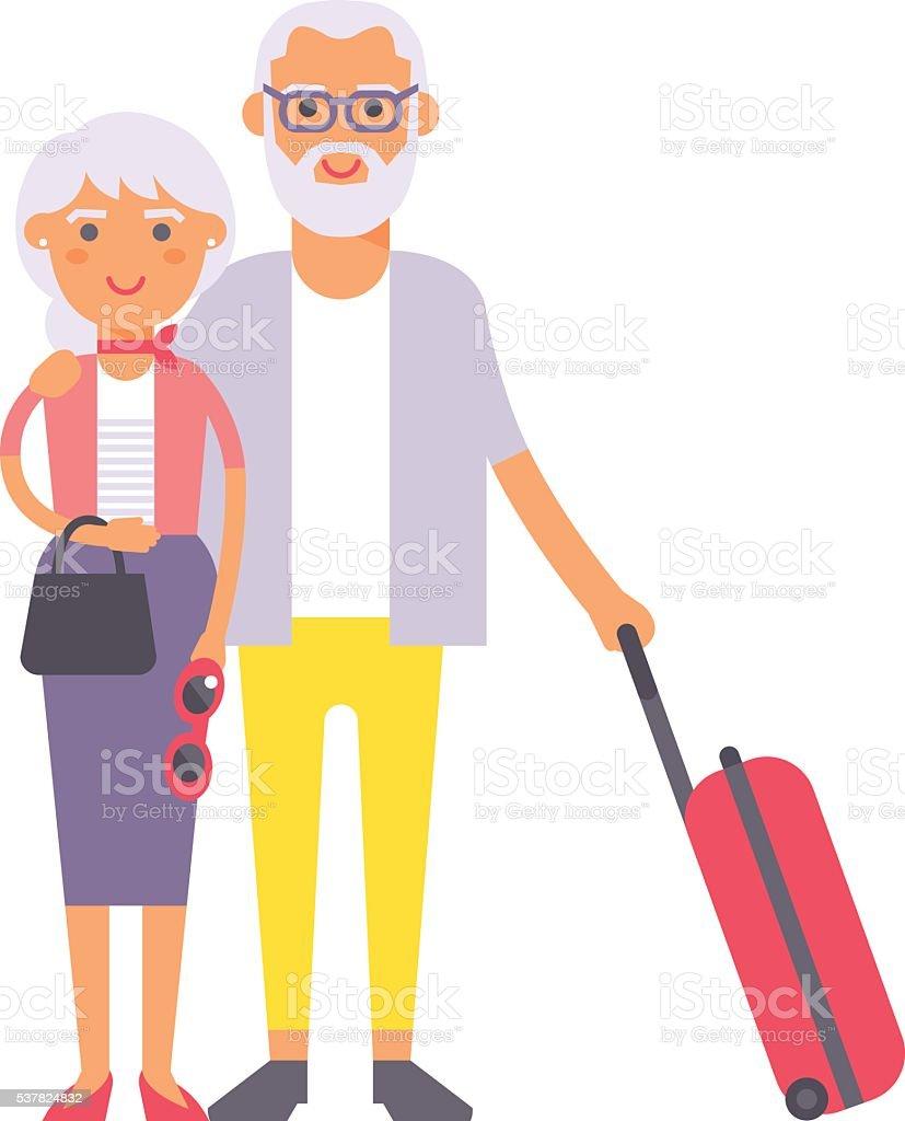 Summer old couple people illustration. vector art illustration