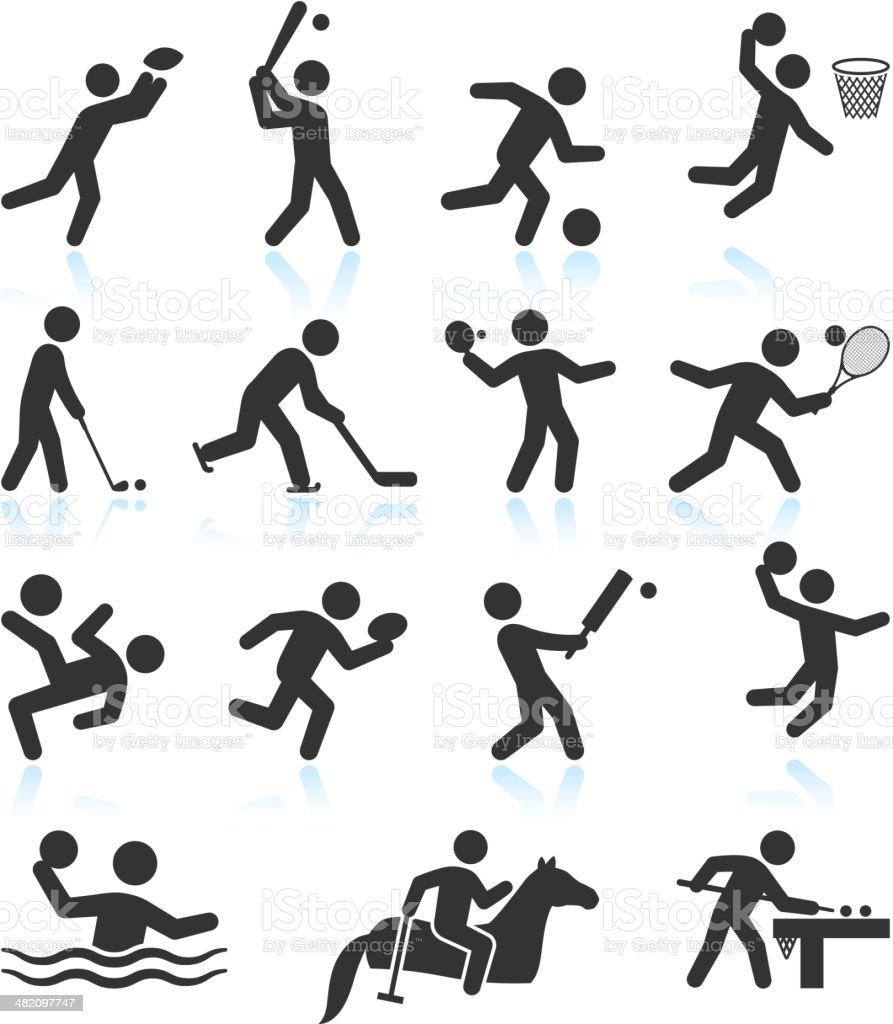Summer Olympics Sports black & white icon set vector art illustration