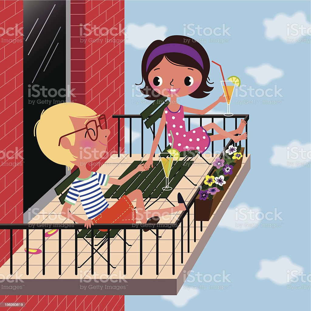 Summer on the Balcony. vector art illustration