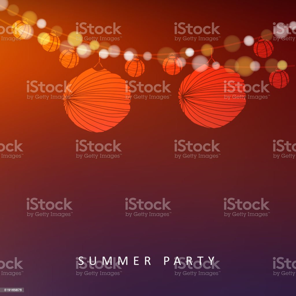 Summer or Brazilian june party, vector background with paper lanterns vector art illustration