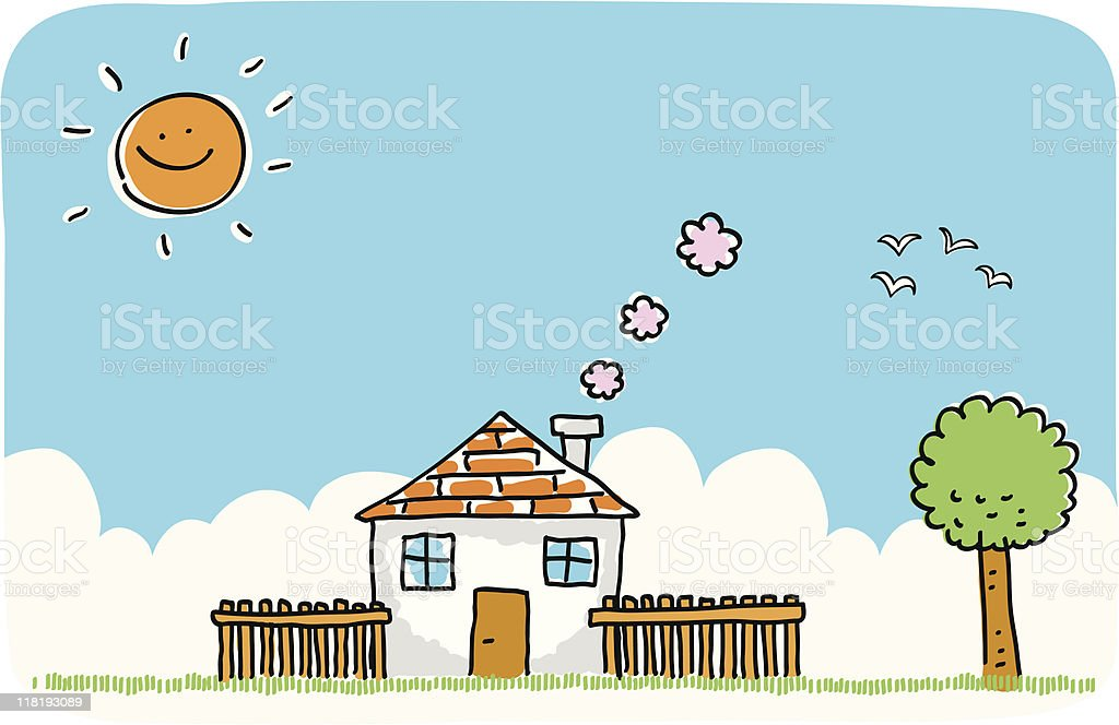 Summer or spring house with nature doodle cartoon illustration royalty-free stock vector art