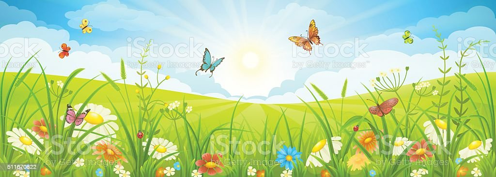 Summer or spring landscape vector art illustration