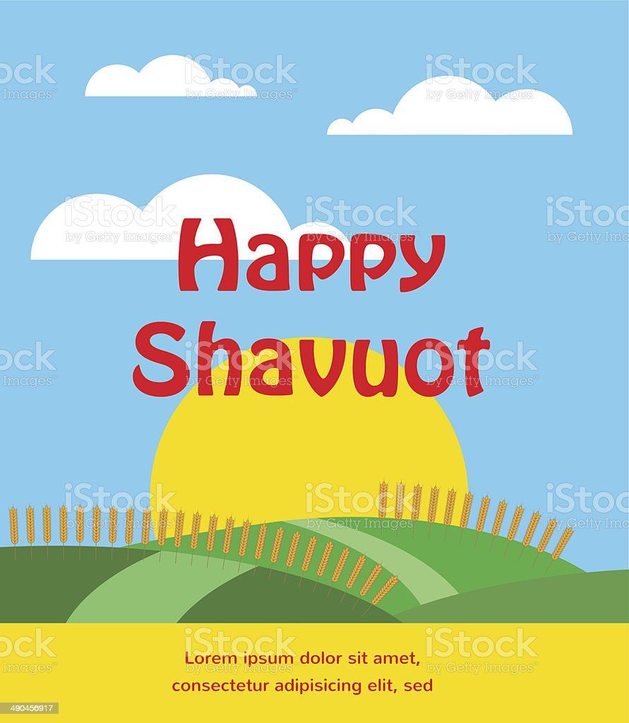 summer or spring scene with wheat field. Shavuot card vector art illustration