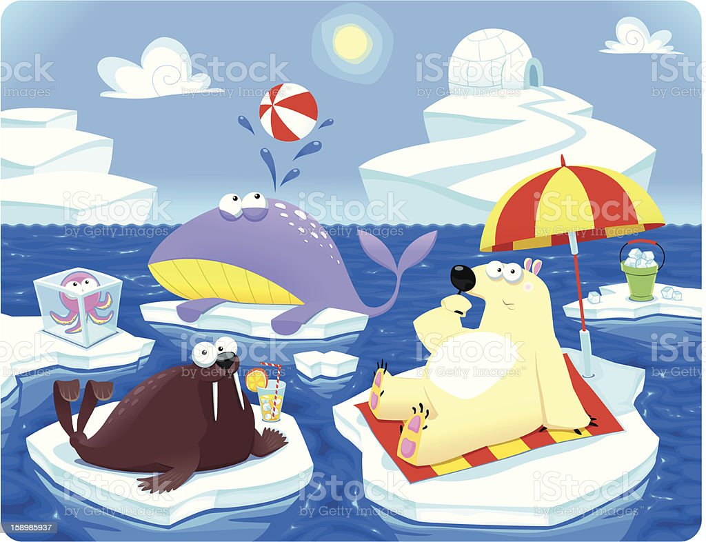 Summer or Winter at the North Pole. royalty-free stock vector art