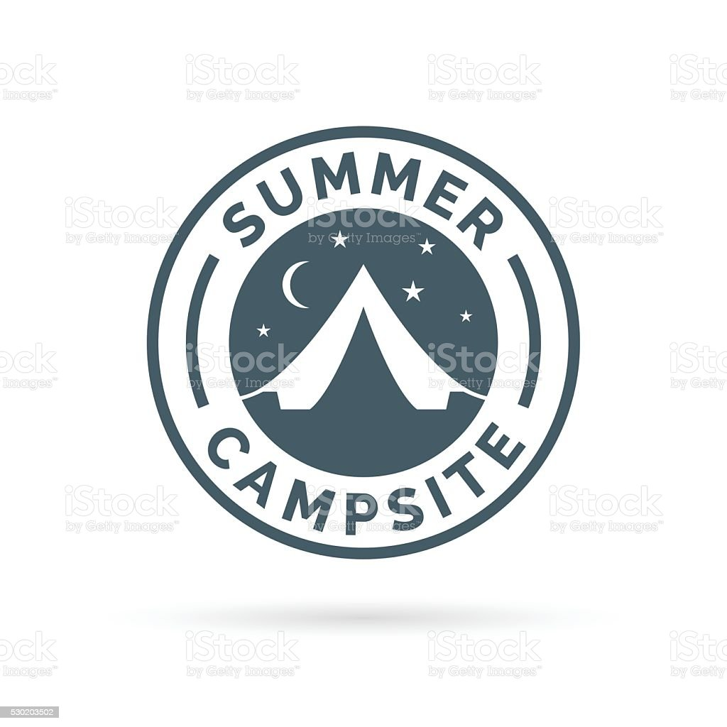Summer outdoor camping icon badge with tent. vector art illustration