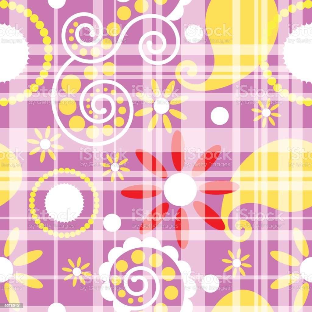 Summer paisley plaid seamless royalty-free stock vector art
