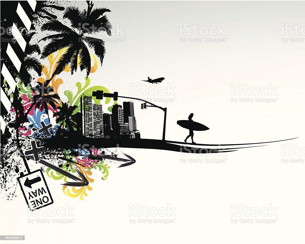 Summer Palm City royalty-free stock vector art
