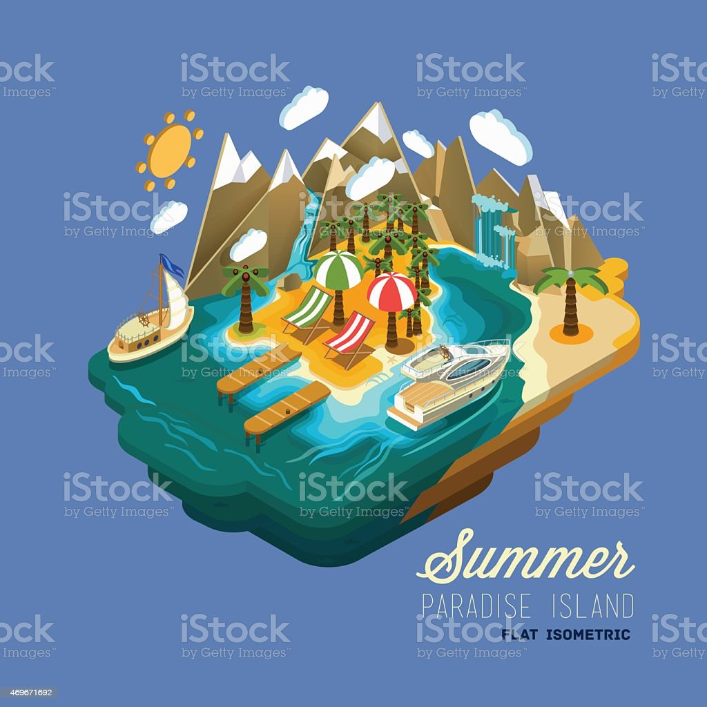 Summer paradise island flat isometric concept. vector art illustration