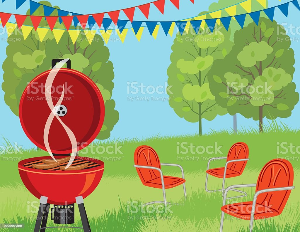 Summer Park BBQ Background vector art illustration