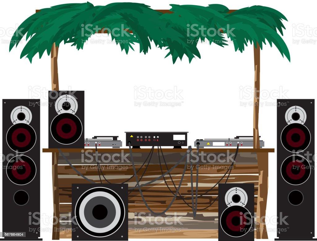 Summer party: dj console on the beach vector art illustration