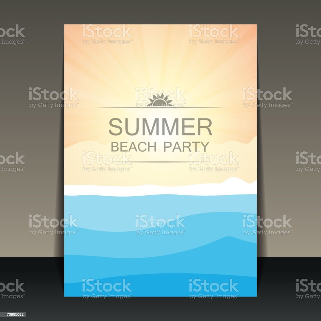 Summer Party Flyer, Card or Cover Template vector art illustration