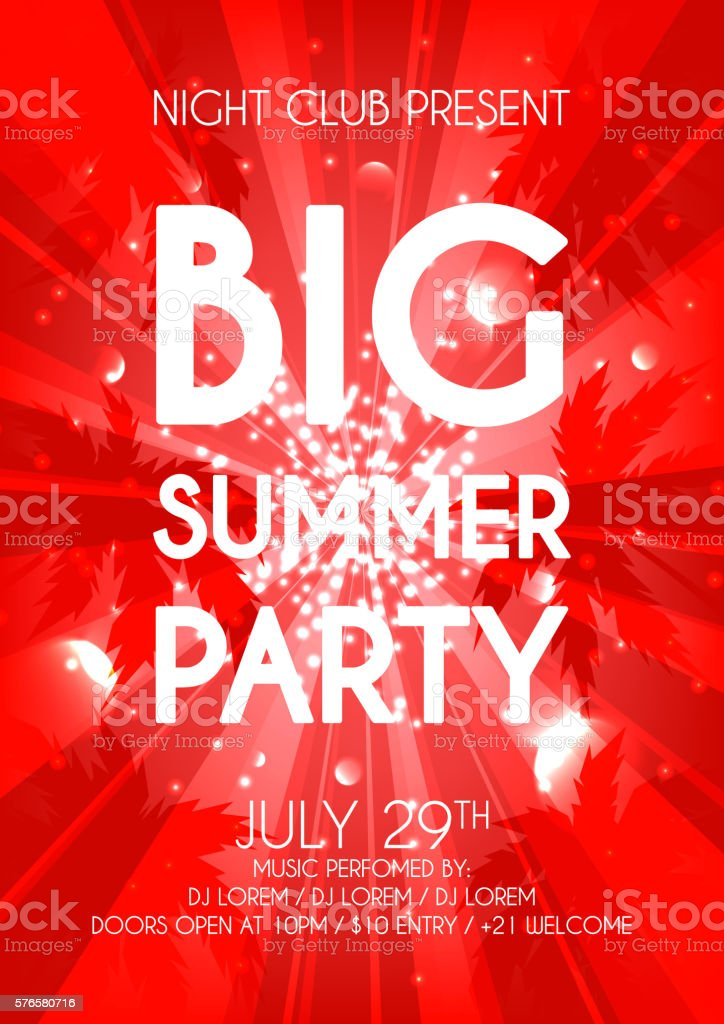 Summer party flyer royalty-free stock vector art