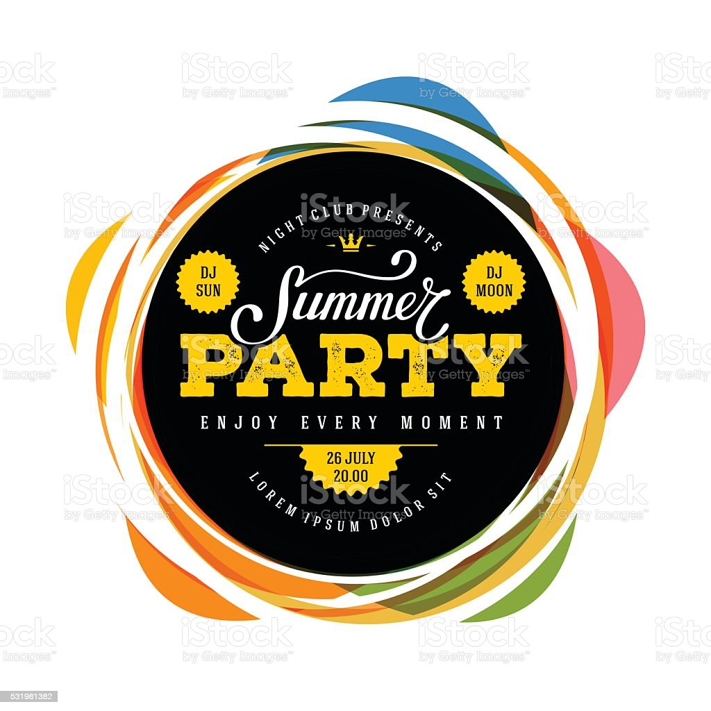 Summer party full color vector art illustration