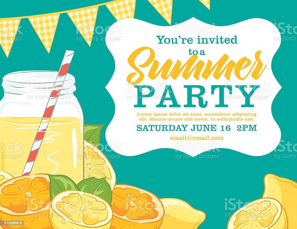 Summer Party Invitation Template With lemonade, lemons, Oranges vector art illustration