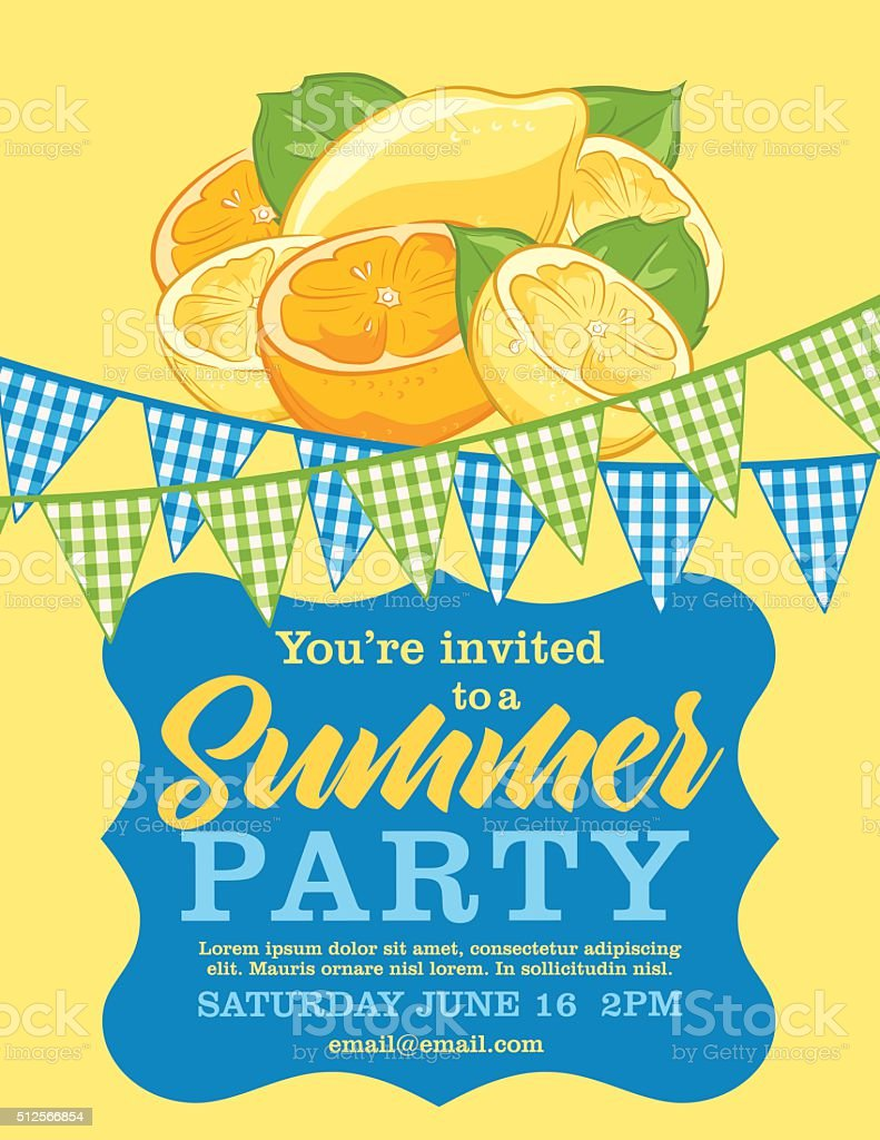 Summer Party Invitation Template With lemons and Oranges vector art illustration