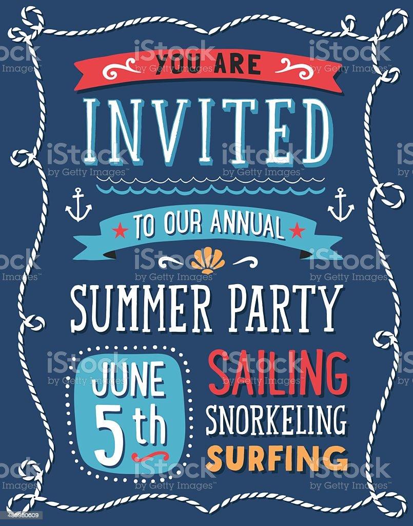 Summer Party Invitation vector art illustration