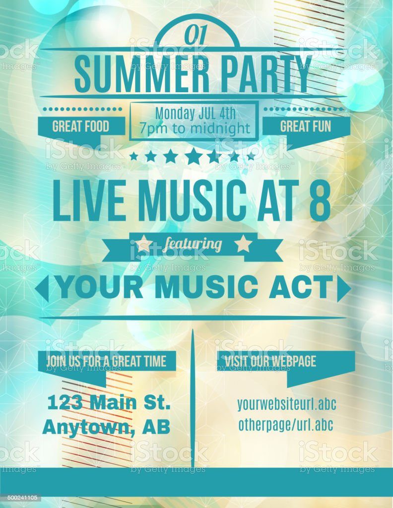 Summer party live music flyer template royalty-free stock vector art