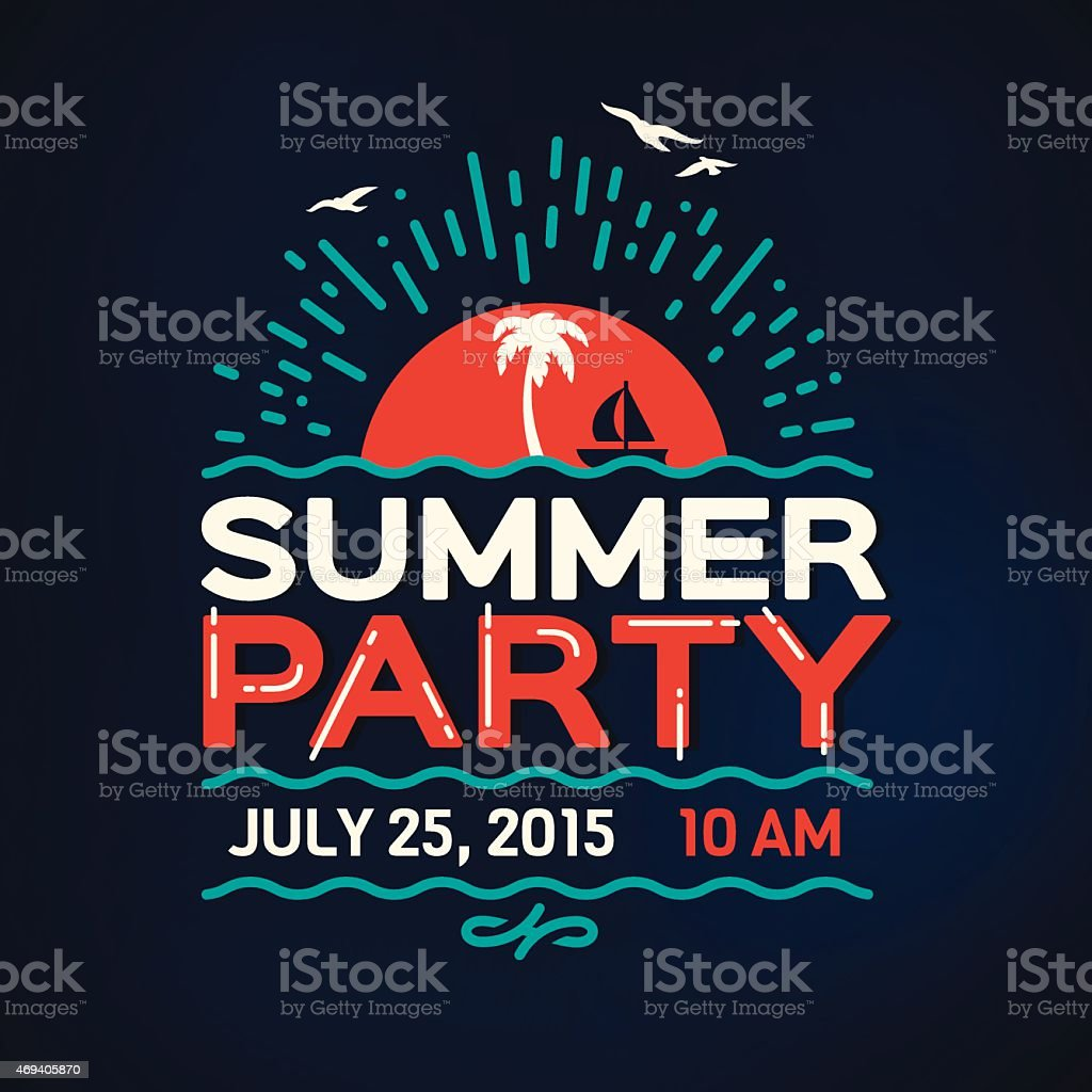 Summer Party Message vector art illustration