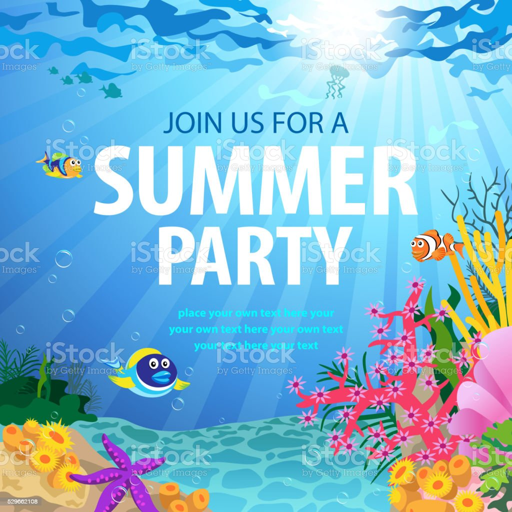 Summer Party On Ocean Floor vector art illustration