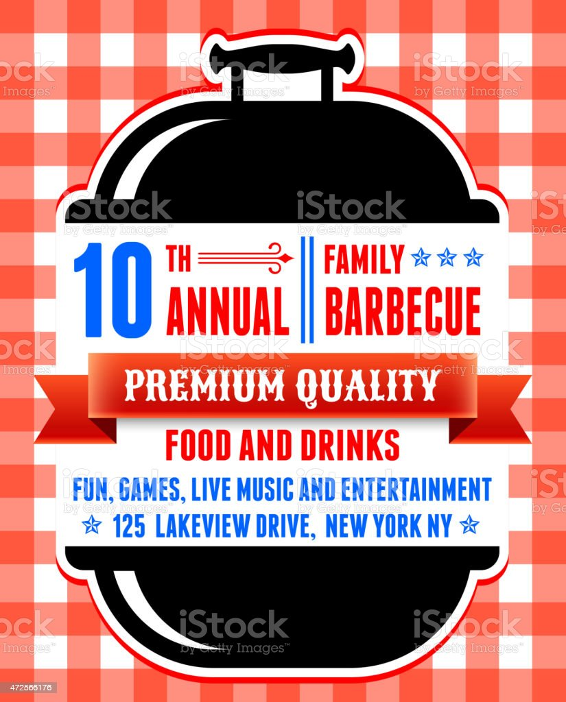 Summer party picnic and barbecue invitation red checker tableclo vector art illustration
